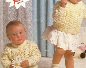 Instant Download - PDF- Pretty Baby Cardigan and Jumper Knitting Pattern  (73)