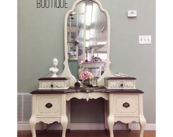 SOLD** Antique 1920's victorian vanity dresser. Shabby chic white with a stained wood top- San Francisco, CA