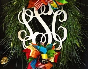 Wooden Monogram Grass Wreath, Grass Wreath, Door Decor, Front Door Wreath