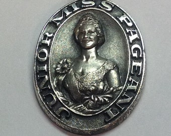 Vintage Sterling Silver Junior Miss Pageant Pendant