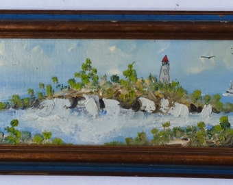 Signed Irene Rozek Original Impasto Painting of Ocean with Lighthouse and Sailboats