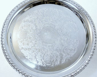 """Vintage 12"""" Round Silver Plated Serving Tray"""