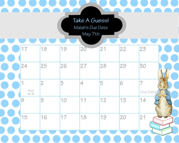 Elephant Guess the Due Date Calendar Printable - Yellow and Gray ...