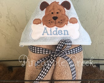 Puppy Dog Hooded Towel NAME INCLUDED