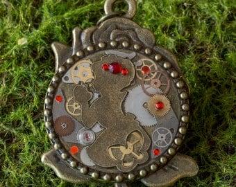 Vintage watch part Steampunk fairytale  pendant- Snow White & the rose