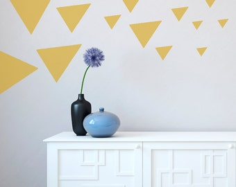 Wall Decals Triangles Multiple Size - Black White Blue Green Orange Yellow Red Grey Pink Purple Silver Gold