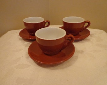 Brown Italian Espresso Coffee Cups and Saucers, Set of 3 Italian Cappucino Cup and Saucer Sets, Made In Italy
