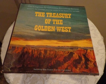 Set of 6 Vinyl Records from The Treasury of The Golden West, Longines Symphonette, Nostagic Music from American Heritage, Western Music,