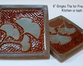 6 inch Gingko, Ginkgo Leaf, Arts and Crafts tile for fireplace and kitchen brown and green-blue glaze.
