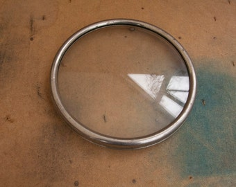 Small tray vintage glass and metal, round with three legs to the base