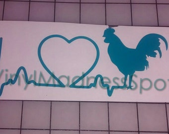 I love my rooster window/car decal 3 inches wide by 7.5 inches long
