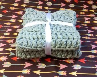 Crocheted Wash Cloths / Dish Cloths Set of 2 Natural Scrubbing wash cloths