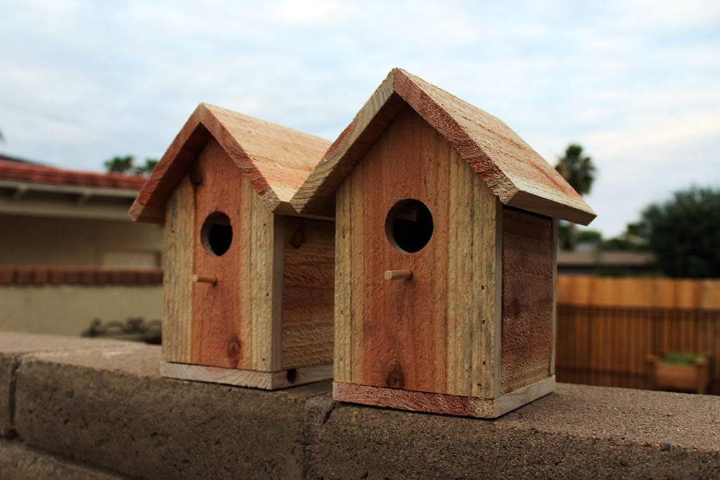 Handmade wooden bird houses images cedar