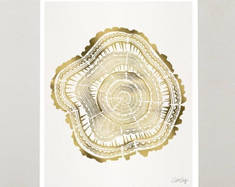 "Tree Rings – Signed Acrylic Ink Painting Print by CatCoq. Artwork Printed on 8.5""x11"" High-Quality Archival Epson Paper. Wall Art, pattern"