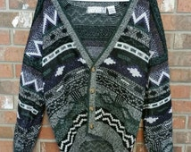 Mr. Rogers Geometric Zig Zag Design Cardigan Sweater