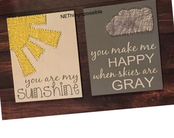 You are my sunshine, you make me happy when skies are gray, wooden sign, string art, nersery decor, baby shower gift, new baby, wall decor