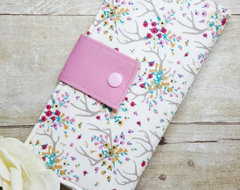 Women's wallet with Floral Antlers, bifold clutch style wallet, fabric handmade wallet, slim money wallet, credit card wallet, gift ideas