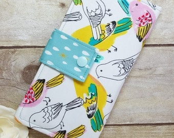 Colorful Birds womans wallet, Bifold wallet, slim clutch wallet, handmade fabric wallet, checkbook wallet, credit card money wallet