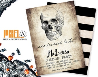 Tea Stained Halloween Invitation - Halloween Invitation - Halloween Costume Party - Halloween Party Invitation  - Skull Invitation - vintage