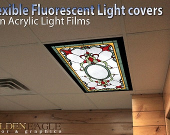 Lovely Flexible Fluorescent Light Cover Films Skylight Ceiling School Classroom  Office English Pub Victorian   Stained Glass