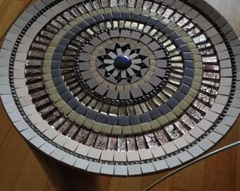 mosaic design bowl,handcrafted bamboo mosaic bowl, mosaic art home decoration, glass mosaic bamboo bowl blue brown, retro glass mosaic