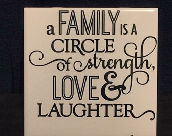 A Family is a Circle of Strength Love & Laughter
