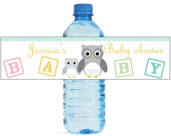 Mom and Baby Owl Baby Shower Theme Water Bottle Labels Celebrations animal theme