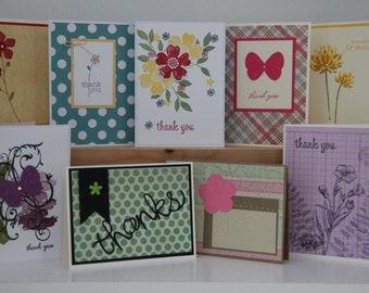 10 Handmade Thank You Cards.  Greeting Cards. Thank You Card Assortment. Handstamped Cards. Blank Thank You Cards