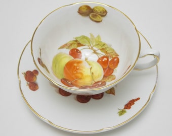 Royal Grafton Fruit Nuts Tea Cup and Saucer Vintage Fine Bone China Made in England