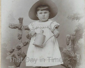 DIGITAL DOWNLOAD Vintage Photo. Little girl wearing straw hat and holding watering can