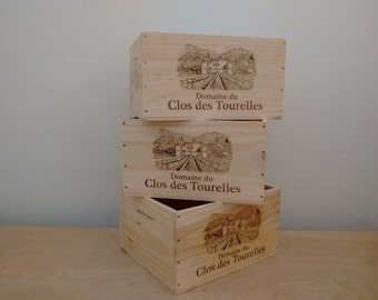 Set of 3 French Wine Crates