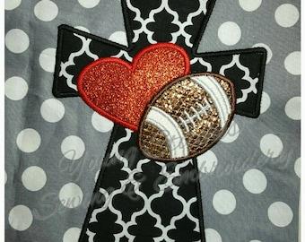 Satin Cross Heart Football 5x7 Embroidery Design