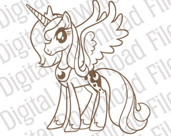 Vector Graphic - DD19 My Little Pony Princess Luna Vector - DIGITAL DOWNLOAD Ai and Svg formats - Fully Editable - Bronies, Tattoo, Mythical