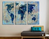 """3 Panel Split Abstract World Map Canvas Print,1.5"""" deep frames,Triptych, Art for home/office wall decor & interior design."""