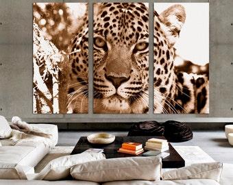 3 Panel Canvas Split, African Leopard, canvas art, Giclee print ,Interior design, Room Decoration, Photo gift.