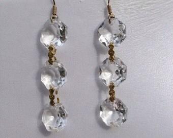 Vintage Chandelier Earrings: Diamanté Pierced Drop Earrings