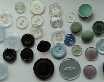 Lot of 32 Vintage Shades of Blue, Clear and Black Buttons