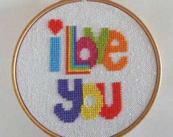 I Love You cross stitch pattern PDF instant download.