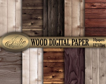 Wood digital papers Distressed wood grain Wood backgrounds Stained wood texture for scrapbook. Instant download