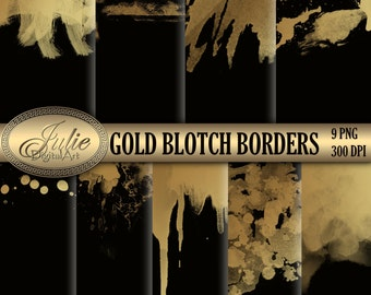 Digital gold blotch border, Wedding clipart, paint watercolor frame borders for scrapbooking Graphic Design