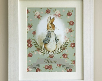 FRAMED Personalised Peter Rabbit Print, New Baby/Birth Nursery Picture Gift, Framed or just mounted, Choice of 4 colours, Shabby White Frame