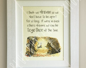 FRAMED Winnie the Pooh QUOTE PRINT, New Baby/Birth Nursery Picture Gift, Pooh Bear, Framed or just mounted, Choice of 3 frames, Tigger