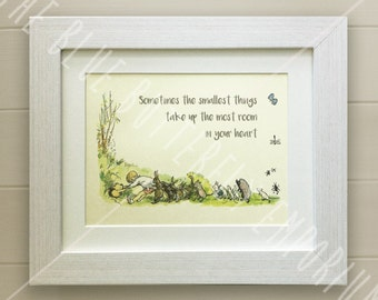 Winnie the Pooh QUOTE PRINT, Birth, Christening, Nursery Picture Gift, Pooh Bear, *UNFRAMED* Beautiful Gift, Piglet, Smallest things
