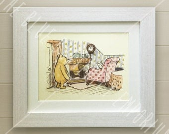 Winnie the Pooh PRINT, Birth, Christening, Nursery Picture Gift, Pooh Bear, *UNFRAMED* Beautiful Gift, Friends, Piglet