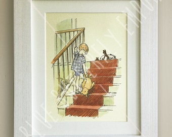Winnie the Pooh PRINT, Birth, Christening, Nursery Picture Gift, Pooh Bear, *UNFRAMED* Beautiful Gift, Friends, Christopher Robin