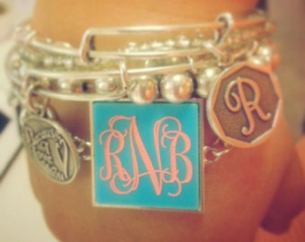 Silver Plated Chain Link Bracelet with Custom Monogram