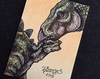 Stegosaurus and Baby Sketch Card - The Lost World: Jurassic Park, No. 2