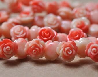 "Carved Pink Resin Rose  Beads 12MM strand 16"" Strand (40 roses)"
