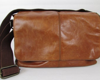 Vintage Fossil Brown Leather Crossbody Messenger Briefcase