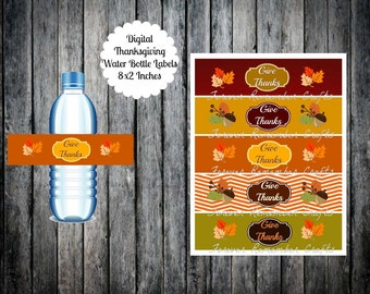 INSTANT DOWNLOAD Digital Give Thanks Thanksgiving  Water Bottle Labels 8 x 2 Inches